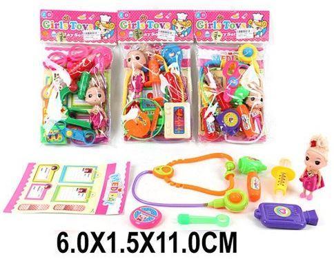 Куколка с набором доктора 8 предм., в ассорт., пакет