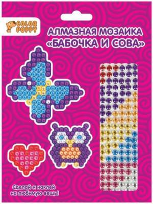 Алмазная мозаика-стикер Бабочка и Сова, 3шт.
