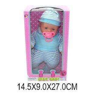 Купить Пупс Наша Игрушка пупс с соской и в голубом костюме 26 см F1285B, пластик, текстиль, Пупсы