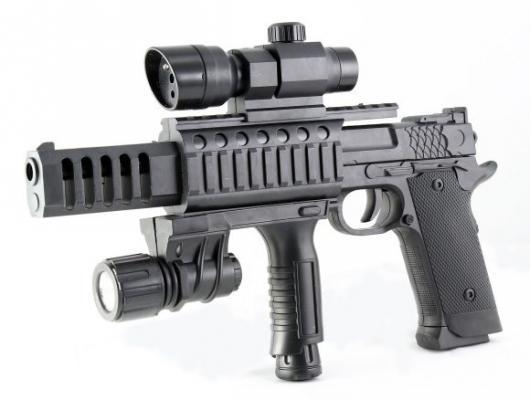 Купить Пистолет Наша Игрушка Пистолет черный ES1003-TZ2011A, 36X4X19 см, для мальчика, Игрушечное оружие