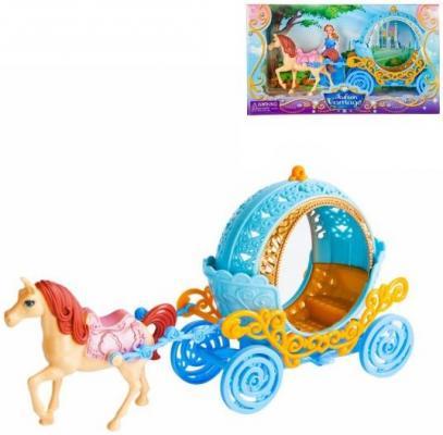 Карета с лошадью Наша Игрушка Карета круглая голубая с лошадкой SS022C