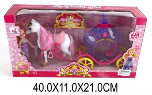 Карета с лошадью Наша Игрушка Карета сиреневая с куколкой игрушка конструктор забияка королевская карета 1157895