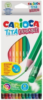 Набор карандашей цветных CARIOCA TITA ERASABLE, 12 цв., шестигранные, с европодвесом