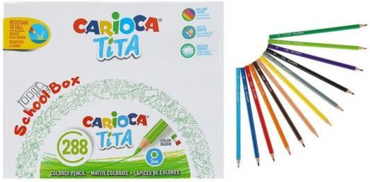 Фото - Набор карандашей цветных пластиковых Carioca Tita 288 шт (12 цветов), в картонном коробе набор цветных карандашей carioca tita 6 шт 174 мм