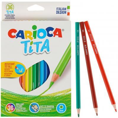 Набор карандашей цветных пластиковых Carioca Tita 36 цв, в картонной коробке с европодвесом (шестиуг