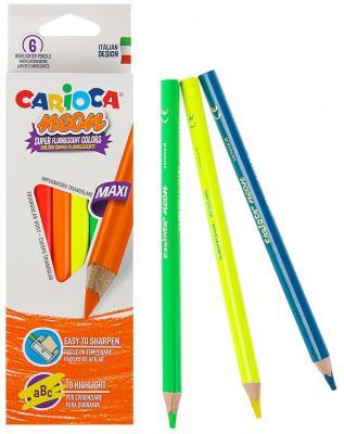 Набор карандашей-текстовыделителей деревянных Carioca Neon, 6 цветов, в картонной коробке с европод цена