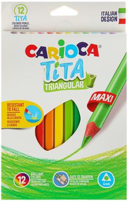 Набор крупных карандашей цветных пластиковых Carioca Tita Maxi 12 цв, в картонной коробке с европод. carioca набор экстра крупных восковых карандашей baby 10 цветов точилка