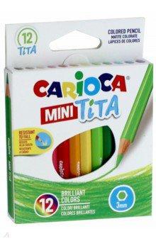 Набор карандашей цветных пластиковых Carioca MINI Tita 12 цв, длина карандаша 8,5 см, в карт. короб. carioca набор смываемых восковых карандашей baby 8 цветов