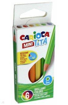 Набор карандашей цветных пластиковых Carioca MINI Tita 6 цв, длина карандаша 8,5 см, в картонной кор universal набор карандашей цветных carioca triangular 12 цв трехгранные