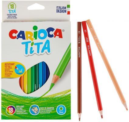 Набор карандашей цветных пластиковых Carioca Tita 18 цв, в картонной коробке с европодвесом (шестиуг