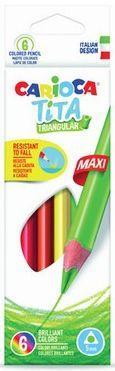 Набор крупных карандашей цветных пластиковых Carioca Tita Maxi 6 цв, в картонной коробке с европодв. carioca набор экстра крупных восковых карандашей baby 10 цветов точилка