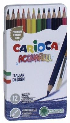 Набор цветных карандашей Carioca Acquarell, 12 матовых цветов, эффект акварельных красок carioca набор экстра крупных восковых карандашей baby 10 цветов точилка
