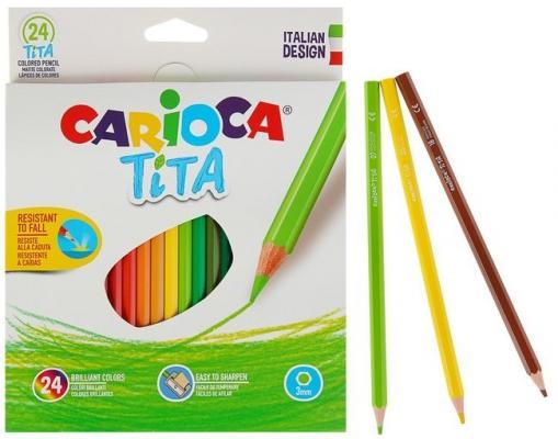 Набор карандашей цветных пластиковых Carioca Tita 24 цв, в картонной коробке с европодвесом (шестиуг