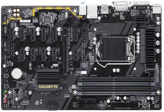 Материнская плата GigaByte GA-B250-FinTech Socket 1151 B250 4xDDR4 1xPCI-E 16x 11xPCI-E 1x 6 ATX Retail мат плата для пк gigabyte ga b250m ds3h socket 1151 b250 4xddr4 1xpci e 16x 2xpci e 1x 6xsataiii matx retail