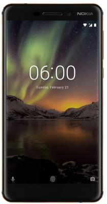 Смартфон NOKIA 6.1 DS (2018) черный 5.5 32 Гб NFC LTE Wi-Fi GPS 3G смартфон lg k10 2017 gold mediatek mt6750 2gb 16gb 5 3 1280x720 3g 4g 13mp 5mp android 7 0