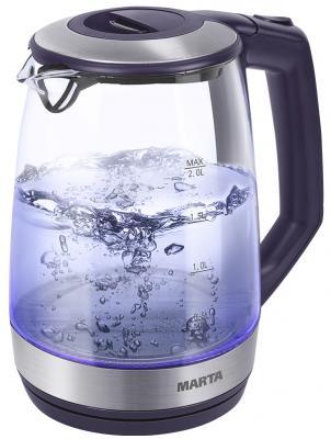 Чайник Marta MT-1095 2200 Вт темный топаз 2 л пластик/стекло чайник marta mt 1094 2200 вт черный жемчуг 2 л пластик стекло