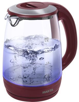 Чайник Marta MT-1094 2200 Вт красный гранат 2 л пластик/стекло чайник электрический marta mt 1092 красный гранат
