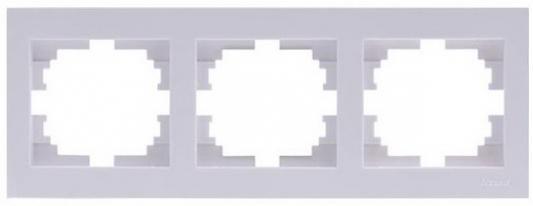 Рамка LEZARD 703-0202-148 серия Рейн 3-ая горизонтальная белый с белой вставкой