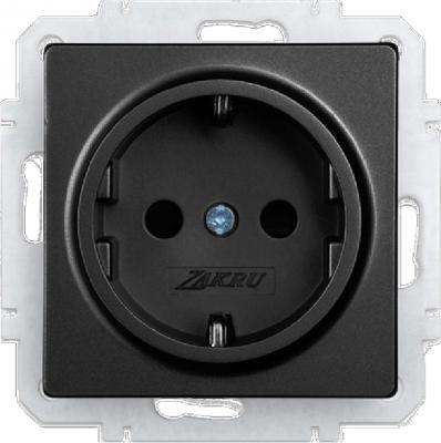 Розетка ZAKRU CLASICO ZA215409 (Черный) Встраиваемая CEE 7/4(с заземлением)