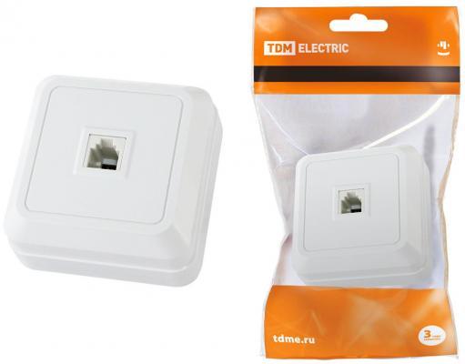 Розетка TDM SQ1801-0021 TФ (RJ-11) открытой установки IP20, белая Ладога TDM выключатель tdm sq1801 0047 1 кл открытой установки с подсветкой ip20 10а сосна ладога