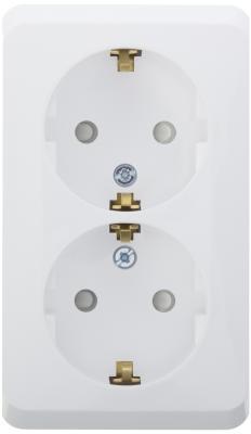 Розетка PA16-008b Этюд 2-местная, открытой проводки, 16А, с заземлением, защитные шторки, белая розетка pa16 003b этюд 1 местная открытой проводки 16а с заземлением белая schneider electric