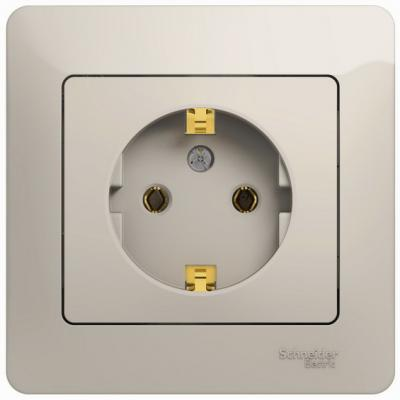 Розетка SCHNEIDER ELECTRIC 275154 Glossa 1-м сп с заземл. защ. шторки бел. gsl000144