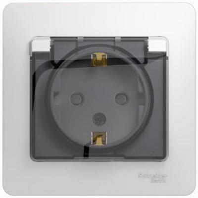 Розетка SCHNEIDER ELECTRIC 275157 Glossa 1-м сп с заземл. защ. шторки с крыш. IP44 бел.
