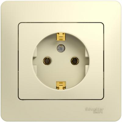 Розетка SCHNEIDER ELECTRIC 275201 Glossa 1-м сп с заземл. беж. gsl000242 jtron 04020029 button switch brown 125 250v