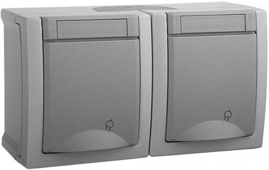 Блок PANASONIC WPTC4800-2GR-RES PACIFIC розетка 2гн с/з с крышкой горизонтальный серый