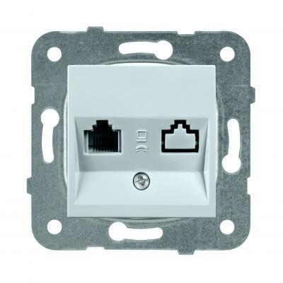 Купить Механизм розетки PANASONIC WKTT0404-2SL-RES Karre Plus компьютерная RJ45, категория 5e, серебро, серебристый