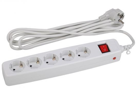 Сетевой фильтр ЭРА SF-5es-4m-W  заземлением, со шторками,  выключателем,  гнезд 4м, белый