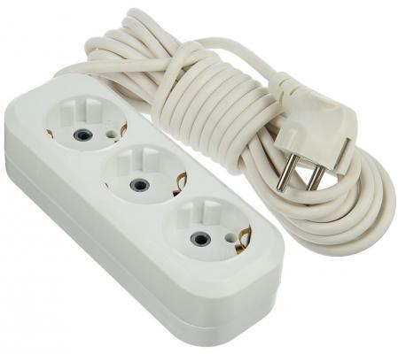 Удлинитель сетевой LUX У3-Е-03 белый 3-местный с заземлением, 220В 16А, 3м (35) четырехместный сетевой удлинитель с заземлением lux у4 е 7м 4606400414766