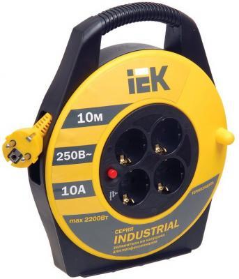 Удлинитель IEK УК10 Industrial 10 м 4 розетки 277734 с термозащитой удлинитель iek ук40 40m 4 socket wkp23 10 04 40