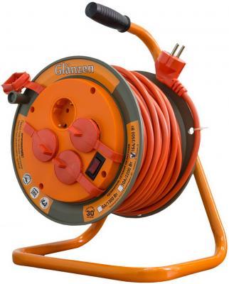 Удлинитель на катушке GLANZEN ЕВ-30-008 30м, 3х1,5мм 16А 3500Вт, 4 розетки