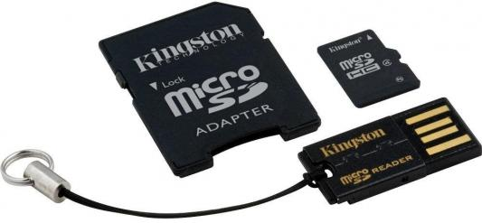 Карта памяти Micro SDHC 8GB Class 4 Kingston MBLY4G2/8GB + адаптер SD kingston dt tank 8gb green
