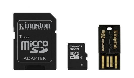Карта памяти Micro SDHC 32GB Class 4 Kingston MBLY4G2/32GB + адаптер SD карта памяти kingston sdc10 16gbsp
