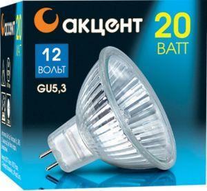 Лампа галогенная АКЦЕНТ MR16 12В 20W 36° GU5.3 с отражателем и защитным стеклом лампа галогенная акцент mr16 12в 20w 36° gu5 3 с отражателем и защитным стеклом