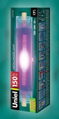 Лмпа газоразрядная капсульная Uniel MH-DE-150/PURPLE/R7s R7s 150W uniel mh de 70 green r7s r7s 70