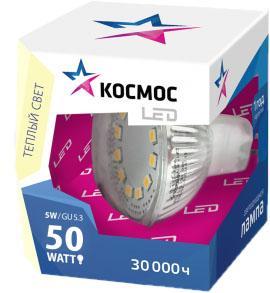 Лампа светодиодная КОСМОС LED JCDR 5Вт 220В GU5.3 3000К салонная лампа gl8 05 06 07 08 09 led