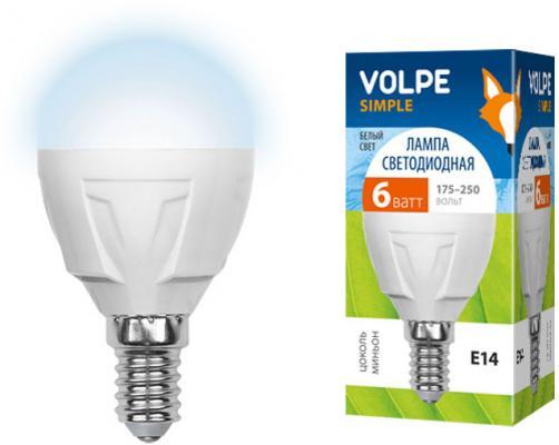 Лампа светодиодная VOLPE LED-G45-6W/NW/E14/FR/S E14 6Вт форма шар матовая колба белый лампа светодиодная 09455 e14 6w 4500k шар матовый led g45 6w nw e14 fr s