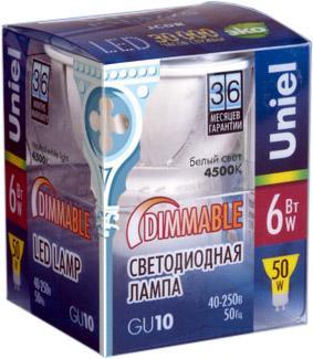 Лампа светодиодная UNIEL LED-JCDR-6W/NW/GU10/FR/DIM/38D ALP01WH диммируемая алюм uniel ulo cl120 40w nw silver