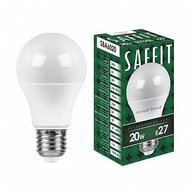 Лампа светодиодная шар Saffit SBA6020 E27 20W 2700K лампа светодиодная saffit 55087 25w 230v e27 2700k sba6525