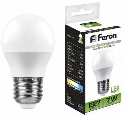 Лампа светодиодная FERON 25482 (7W) 230V E27 4000K, LB-95 лампа светодиодная feron sbg4505 e27 5вт 4000k 55026