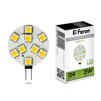 Лампа светодиодная FERON 25093 (3W) 12V G4 4000K, LB-16 g4 3w 280lm 6500k ac 12v led cob car bulb cabinet dome light pure white