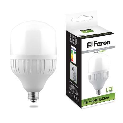 Лампа светодиодная FERON 25821 (60W) 230V E40 4000K, LB-65 лампа светодиодная feron 25821 60w 230v e40 4000k lb 65
