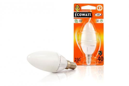 Лампа светодиодная ECOWATT B35 230В 4.7(40)W 2700K E14 (миньон) теплый белый свет, свеча лампа энергосберегающая ecowatt fsp 40w 840 e27 холодный белый свет витая люминесцентная