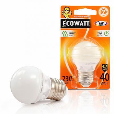 Лампа светодиодная ECOWATT P45 230В 4.7(40)W 2700K E14 (миньон) теплый белый свет, шарик кардиган desigual desigual de002ewabxn4