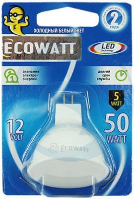 Лампа светодиодная ECOWATT MR16 12В 3.2(35)W 4000K GU5.3 холодный белый свет лампа светодиод ecowatt b35 230в 4 7 40 w 4000k e14 миньон холодный белый свет свеча