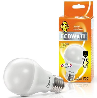 Лампа светодиод. ECOWATT A60 230В 9(75)W 2700K E27 теплый белый свет груша лампа светодиод ecowatt b35 230в 4 7 40 w 4000k e14 миньон холодный белый свет свеча