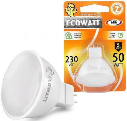 Лампа светодиод. ECOWATT JCDR 230В 5(50)W 3000K GU5.3 теплый белый свет лампа энергосберегающая ecowatt fsp 40w 840 e27 холодный белый свет витая люминесцентная